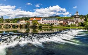 Картинка мост, река, здания, дома, Португалия, Portugal, Arcos de Valdevez, Река Веш, Аркуш-ди-Валдевеш, Vez River
