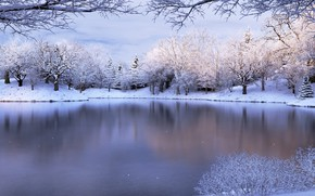 Картинка Nature, Winter, Snow, Lake, Mood