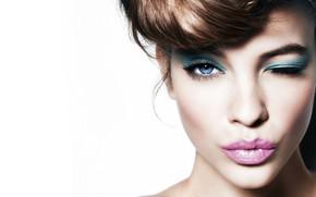 Картинка взгляд, девушка, лицо, милая, модель, макияж, губы, красотка, Barbara Palvin