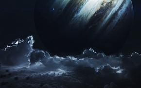 Картинка Небо, Облака, Планета, Космос, Clouds, Sky, Арт, Space, Art, Спутник, Planet, Universe, Galaxy, Фантастика, Satellite, ...