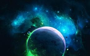 Картинка Звезды, Планета, Космос, Туманность, Вселенная, Планеты, Fantasy, Арт, Stars, Space, Art, Спутник, Planet, Universe, Фантастика, …