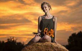 Картинка лето, девушка, цветы, сено, Kaylee