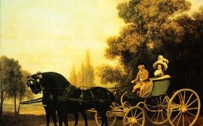 Картинка картина, Джордж Стаббс, George Stubbs, Леди и джентельмен в фаэтоне