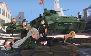 Картинка засада, разруха, оборона, поле боя, танки, военная форма, снайперская винтовка, автоматы, крутые, Girl Frontline