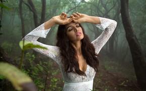 Картинка лес, девушка, деревья, природа, туман, платье, брюнетка, локоны, гипюр, Natalia Arantseva