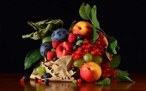 Картинка стол, еда, фрукты, черный фон, натюрморт, много, разные, композиция, ассорти