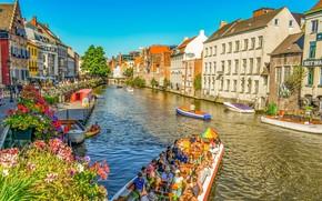 Картинка Город, Канал, Бельгия, Архитектура, Путешествия, Гент