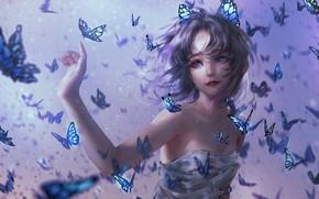 Картинка Девушка, Girl, Бабочки, Волосы, Kimetsu no Yaiba, Фиолетовые глаза, Purple Eyes, Kochou Shinobu, Demon Slayer: …