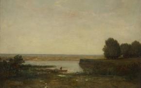 Картинка пейзаж, картина, Théodore Rousseau, Речная сцена, Теодор Руссо