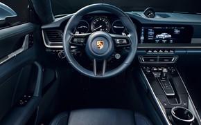 Картинка 911, Porsche, руль, салон, Carrera 4S, 2019