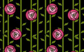 Картинка розы, текстура, черный фон