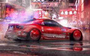 Картинка Красный, Авто, Неон, Машина, Toyota, Арт, Art, Illustration, Concept Art, Cyberpunk, by Timothy Adry, Timothy …