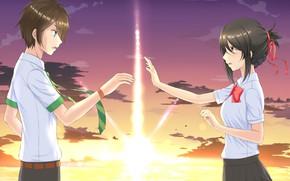 Картинка девушка, солнце, рассвет, аниме, арт, парень, двое, Kimi no Na wa, Твоё имя
