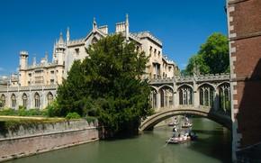 Картинка мост, Англия, канал, Кембридж
