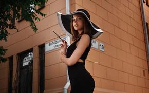 Обои девушка, улица, шляпа, платье, двор, Дарья, Alexander Drobkov-Light