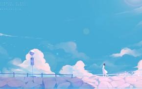 Картинка море, лето, девушка, птицы, знак