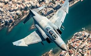 Картинка Греция, F-4 Phantom II, Пилот, Кокпит, Море, ВВС Греции, Причал, Яхта, HESJA Air-Art Photography, Истребитель, …