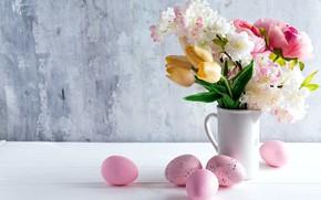 Картинка цветы, праздник, Пасха, тюльпаны, ваза, Easter, Eggs