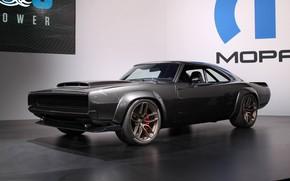 Картинка машина, тюнинг, Dodge, карбон, Charger, tuning, muscle car, колёса, Dodge Charger, Mopar, стенд, чёрная машина, …