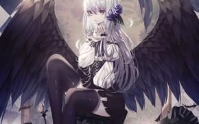Картинка девушка, ангел, корона, арт, hongsung0819