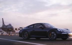 Картинка рендеринг, 911, Porsche, вид сбоку, F-16, 2018, CGI, Carrera T, Gustavo Coutinho Alves