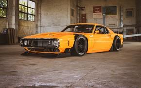 Картинка Ford, Shelby, GT500, Авто, Желтый, Ретро, Машина, Форд, Оранжевый, 1969, Car, Автомобиль, Render, Muscle car, …