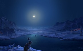 Картинка зима, снег, горы, река, люди, заяц, дома, Луна, деревня, арт, лунный свет, Fel-X