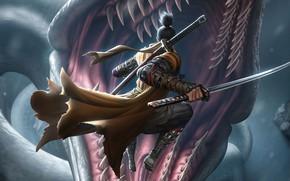 Картинка Игра, Змея, Меч, Fantasy, Арт, Art, Фантастика, Катана, Game, Персонаж, Katana, Sword, FromSoftware, Character, Game …