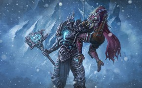 Картинка Зима, Снег, WOW, Lich King, Blizzard, Art, Paladin, Паладин, Alternative, World of WarCraft, WarCraft, Сильвана, …