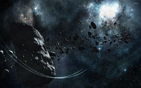 Картинка космос, пространство, астероид, space, starlight, asteroid, небесное тело, свет звезд, celestial body