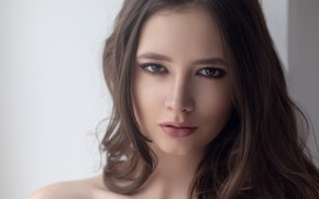 Картинка girl, long hair, brown hair, brown eyes, photo, photographer, model, bokeh, lips, face, portrait, mouth, …