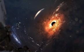 Картинка Космос, Астронавт, Космонавт, Space, Черная дыра, Black hole, Science Fiction, Vadim Sadovski, by Vadim Sadovski, …