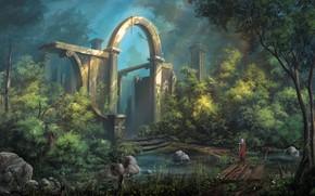 Картинка sword, fantasy, soldier, trees, landscape, weapon, bridge, ruins, digital art, artwork, warrior, building, fantasy art, …