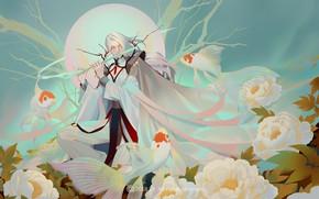 Картинка фентези, рыбка, арт, золотая рыбка, флейта, LY 炼 妖, 牡丹 花