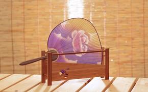 Картинка Япония, Japan, декоративно-прикладное искусство, paper fan, ручная роспись, бумажный веер, веер утива, круглый веер