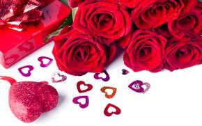 Картинка цветы, подарок, розы, букет, сердечки, красные, red, love, flowers, romantic, hearts, valentine's day, roses, gift …