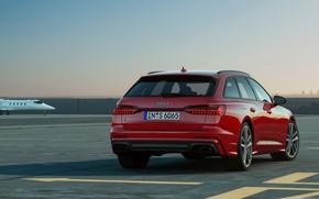 Картинка красный, Audi, аэропорт, универсал, 2019, A6 Avant, S6 Avant
