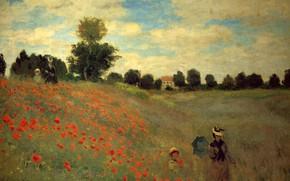 Картинка природа, маки, живопись, Клод Моне