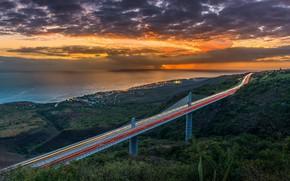 Картинка Bridge, Sunset, Reunion Island, Indian-Ocean