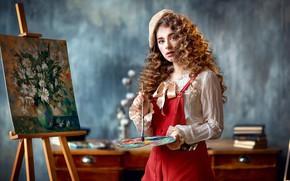 Картинка взгляд, девушка, картина, палитра, кудри, кисть, художница, берет, мольберт, Анастасия Бармина