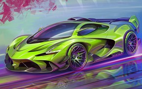 Картинка Car, Art, Race car, Sketch, Aleksandr Sidelnikov, Transport & Vehicles