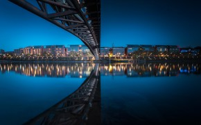 Картинка мост, огни, река, Франция, вечер, Лион