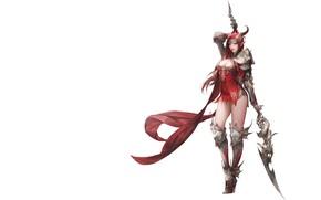 Картинка Girl, Fantasy, Beautiful, Sexy, Art, Style, Minimalism, Characters, Armor, Figure, Lance, Daeho Cha, Goddess of …