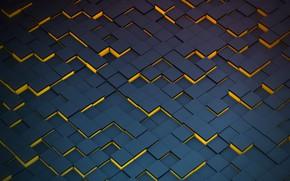 Картинка синий, фон, кубы, фигуры, yellow, blue, fon, figures, cube