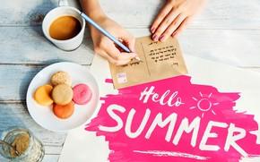Картинка лето, письмо, надпись, кружка, макаруны