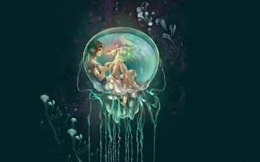 Картинка русалка, глубина, медузы, золотая рыбка, пузырь, mermaid, магия воды