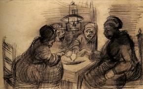 Картинка Винсент ван Гог, Sharing a Meal, Four People