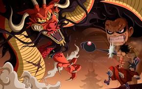 Картинка дракон, аниме, парень, One Piece