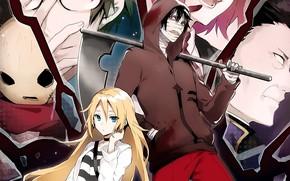 Картинка девушка, маска, парень, двое, персонажи, Ангел кровопролития, Satsuriku no Tenshi