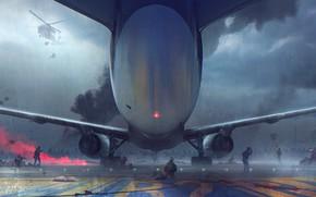 Картинка Самолет, Дождь, Тучи, Бой, Крылья, Солдаты, Солдат, Zombie, Fantasy, Art, Фантастика, Rain, Concept Art, Атака, …
